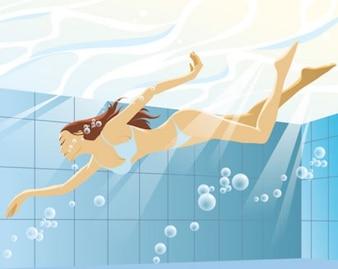 mujer de natación