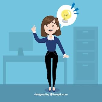 Mujer de negocios con una genial idea