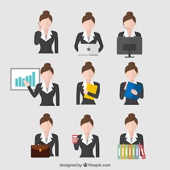 Mujer de negocios en diferentes situaciones