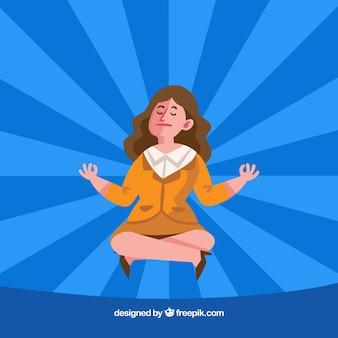 Mujer de negocios meditando