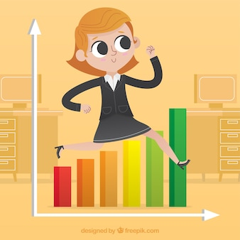 Mujer de negocios saltando una gráfica