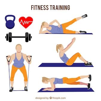 Mujer fuerte entrenando