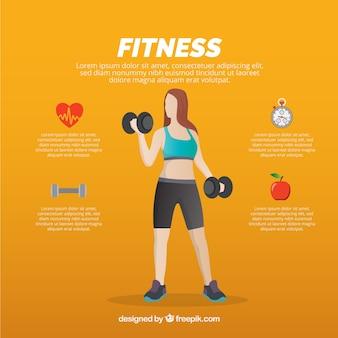 Mujer levantando pesas e iconos de salud