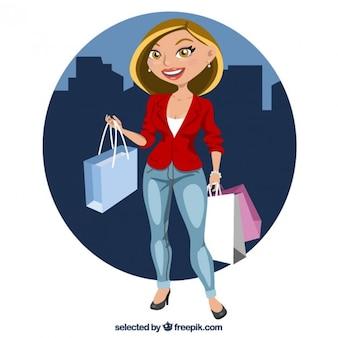 Mujer rubia con bolsas de compra