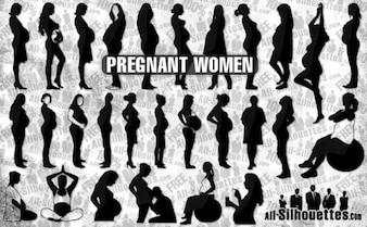 Mujeres embarazadas siluetas