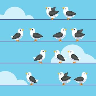 Multitud, pájaros, sentado, alambres