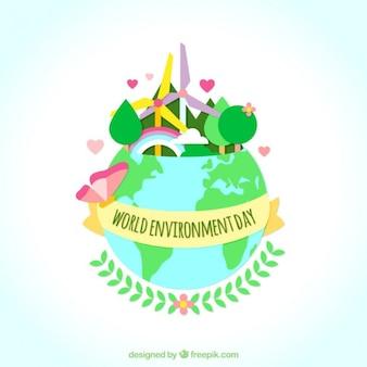 Mundo con energía eólica y naturaleza