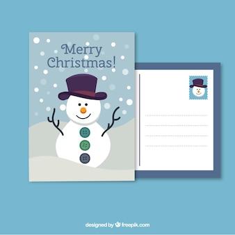 muñeco de nieve tarjeta de Navidad