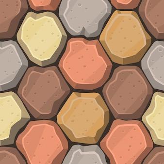 Muro de piedras redondas con estilo cartoon