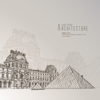 Museo del louvre dibujado a mano