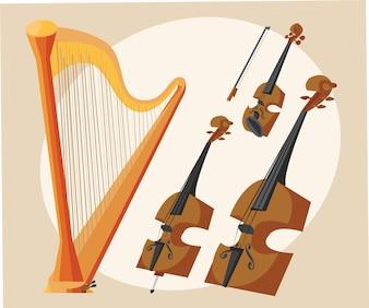 Música objetos ilustración vectorial para el diseño