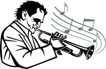 Músico que toca la trompeta