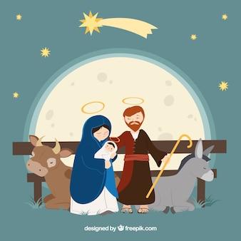 Nacimiento de jesús con un buey y una mula