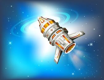 Nave espacial volando en galaxia