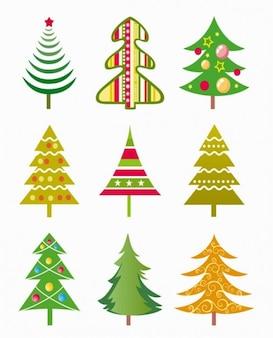 navidad árbol, vector, ilustración conjunto