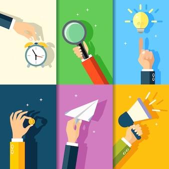 Negocios manos gestos, diseño, elementos, tacto, reloj despertador, tenencia, lupa, punto, idea, bombilla, vector, Ilustración