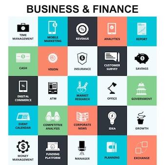 Negocios y finanzas, iconos
