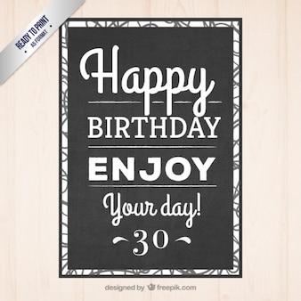 Negro Invitación tipográfica cumpleaños