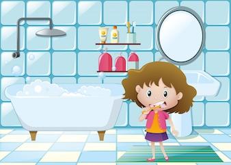 Niña, cepillado, dientes, cuarto de baño