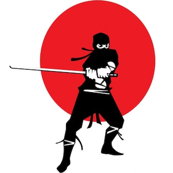 Ninja con katana en fondo bandera japonesa