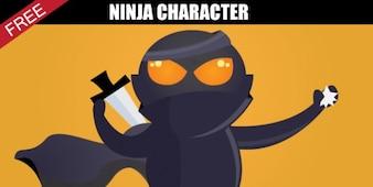Ninja de la historieta plantilla de carácter
