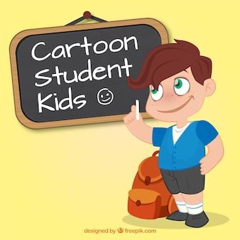 Niño estudiante de dibujos animados