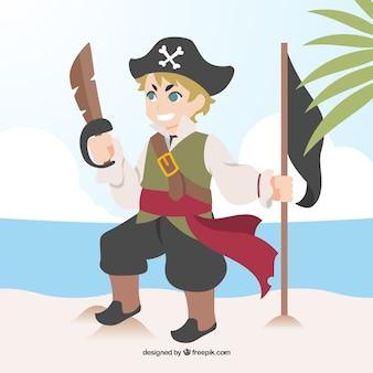 Niño feliz disfrazado de pirata
