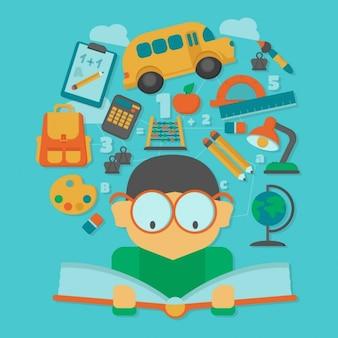 Niño leyendo un libro con elementos de la escuela flotantes