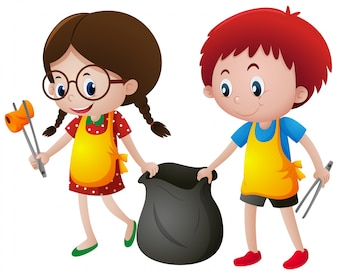Niño, niña, recogiendo, basura