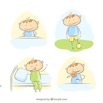 Niño pequeño con su rutina diaria