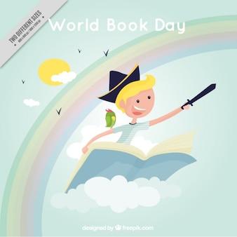 Niño volando sobre un fondo de libros