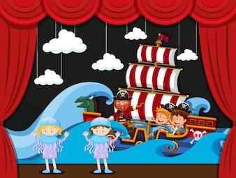Niños actuando en el escenario