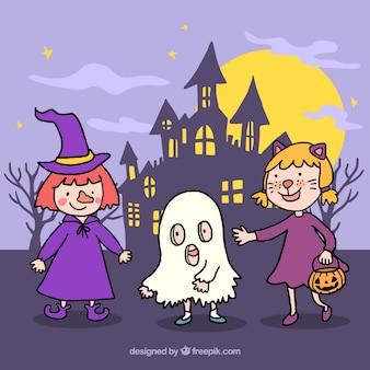 Niños adorables con disfraces de halloween