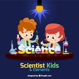 Niños científico en un laboratorio