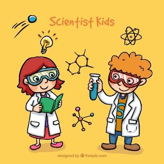 Niños científicos dibujados a mano