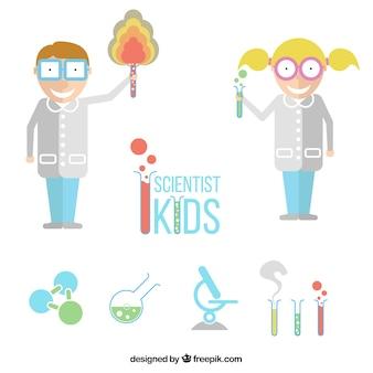 Niños científicos planos con elementos de laboratorio