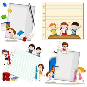 Niños con elementos de colegio