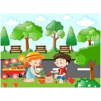 Niños cuidando las plantas