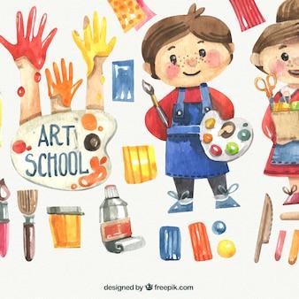 Niños de acuarela con materiales de escuela de arte