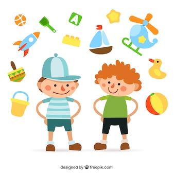 Niños de colores y juguetes