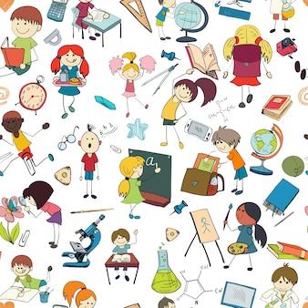 Niños de dibujo y la escritura fórmulas en la pizarra con la escuela de accesorios de fondo sin fisuras doodle dibujo patrón ilustración vectorial