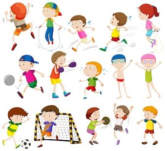 Niños, diferente, actividades, Ilustración