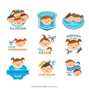Niños divertidos de peluquería logotipos