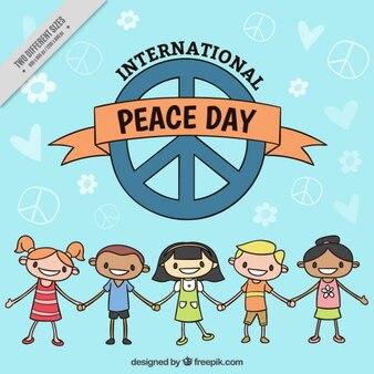 Niños felices con símbolos de la paz
