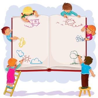 Niños felices juntos dibujar en una gran hoja de libro