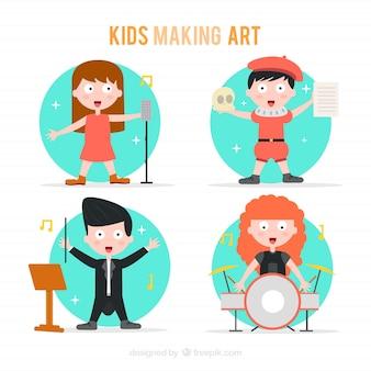 Niños haciendo arte en diseño plano