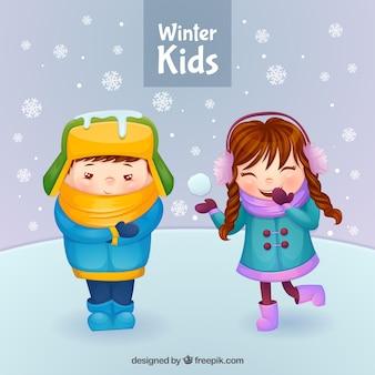 Niños invernales con escenario nevado