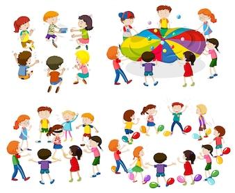 Niños jugando diferentes juegos ilustración