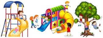 Niños jugando en diapositivas ilustración