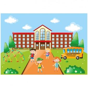Niños jugando en el colegio